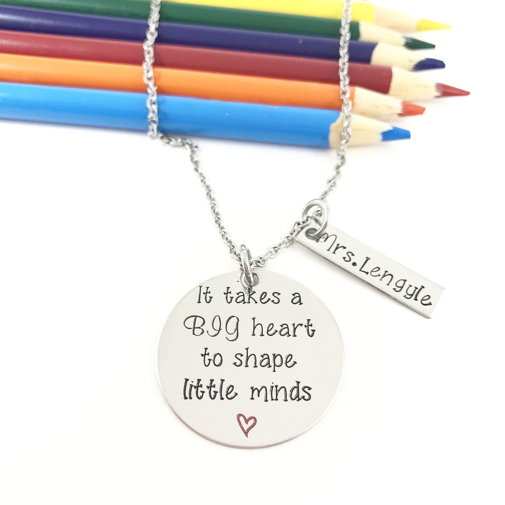 TEACHERS WITH A BIG HEART NECKLACE