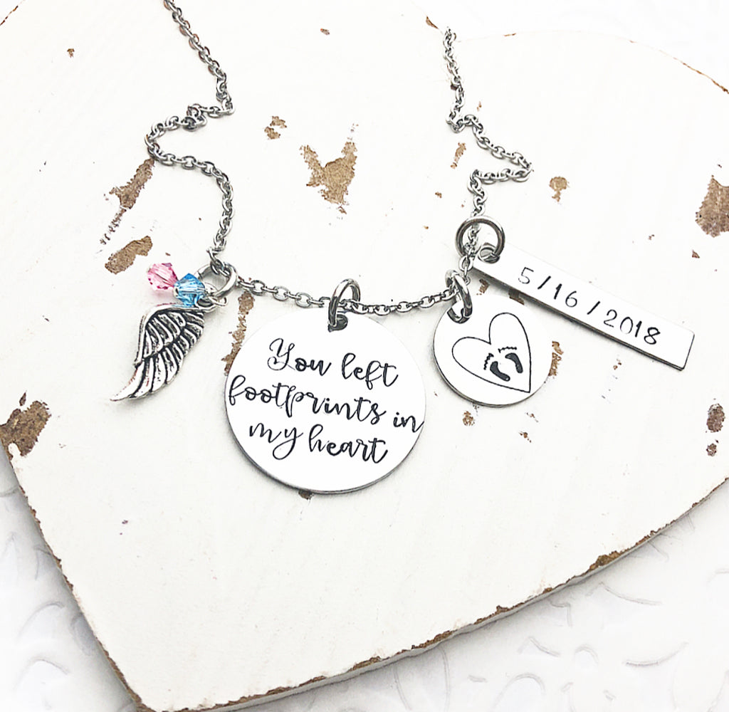 YOU LEFT FOOTPRINTS IN MY HEART NECKLACE