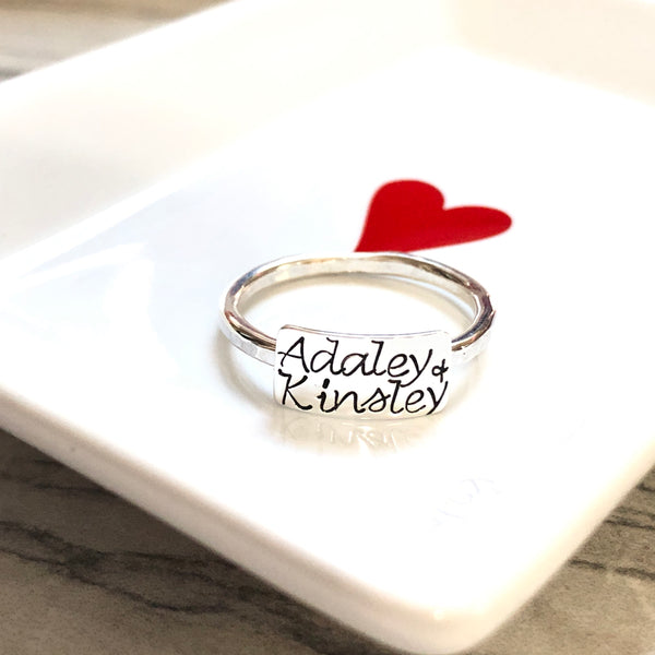 TWO NAMES BAR RING