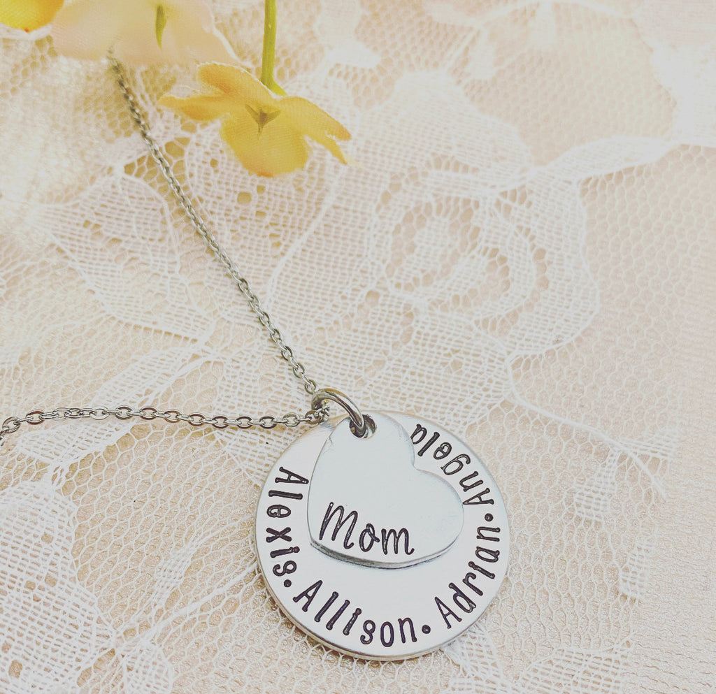 DISK & SIDE HEART NECKLACE