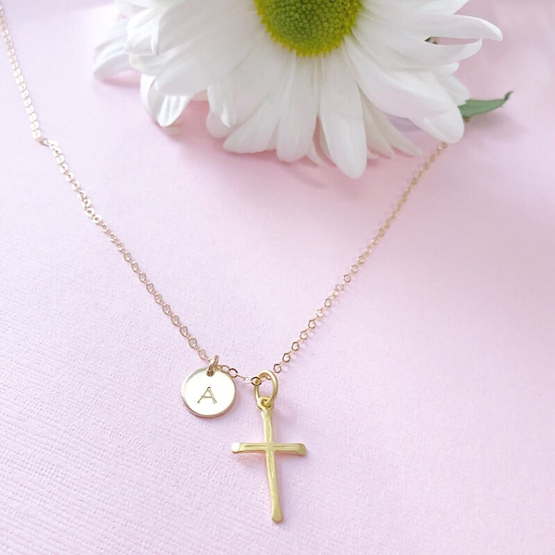 CROSS & INITIAL NECKLACE