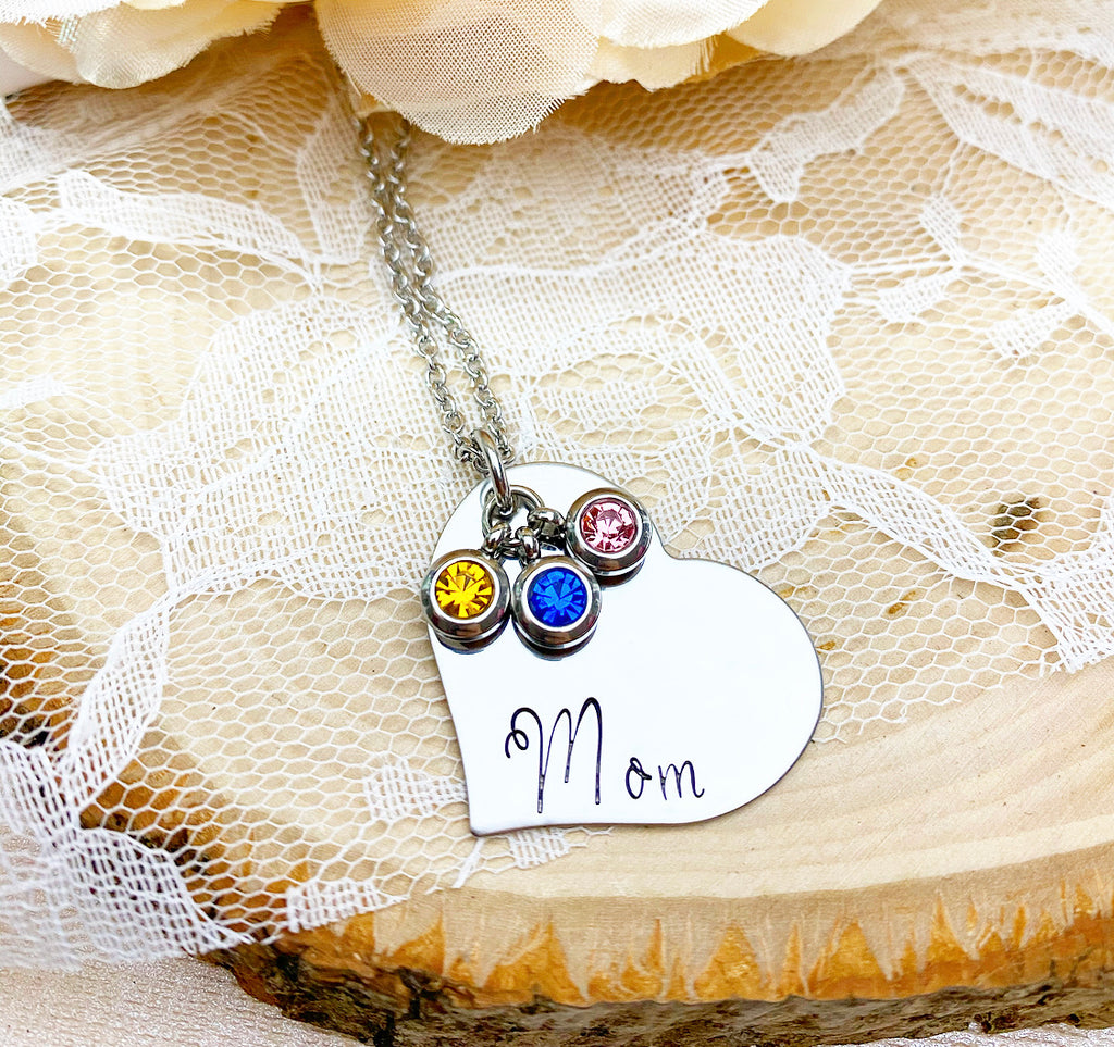 HEART & BIRTHSTONE NECKLACE