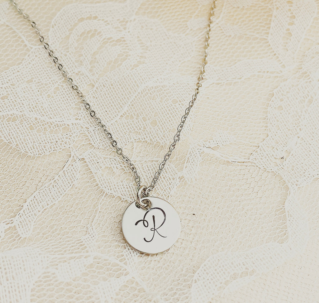 SMALL-INITIAL DISK NECKLACE