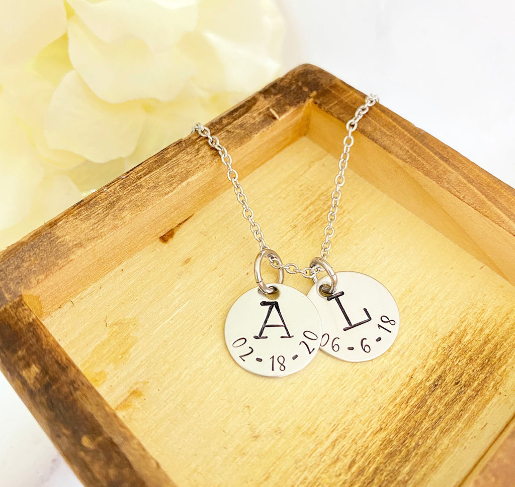 INITIAL AND DATE- DISK NECKLACE
