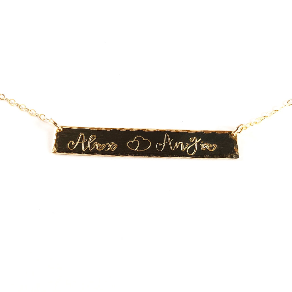 HAMMERED EDGE BAR NECKLACE