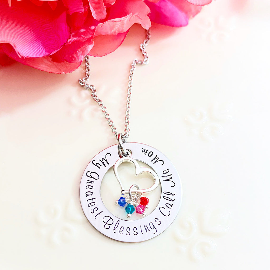 WASHER NECKLACE WITH HEART CHARM & BIRTHSTONES