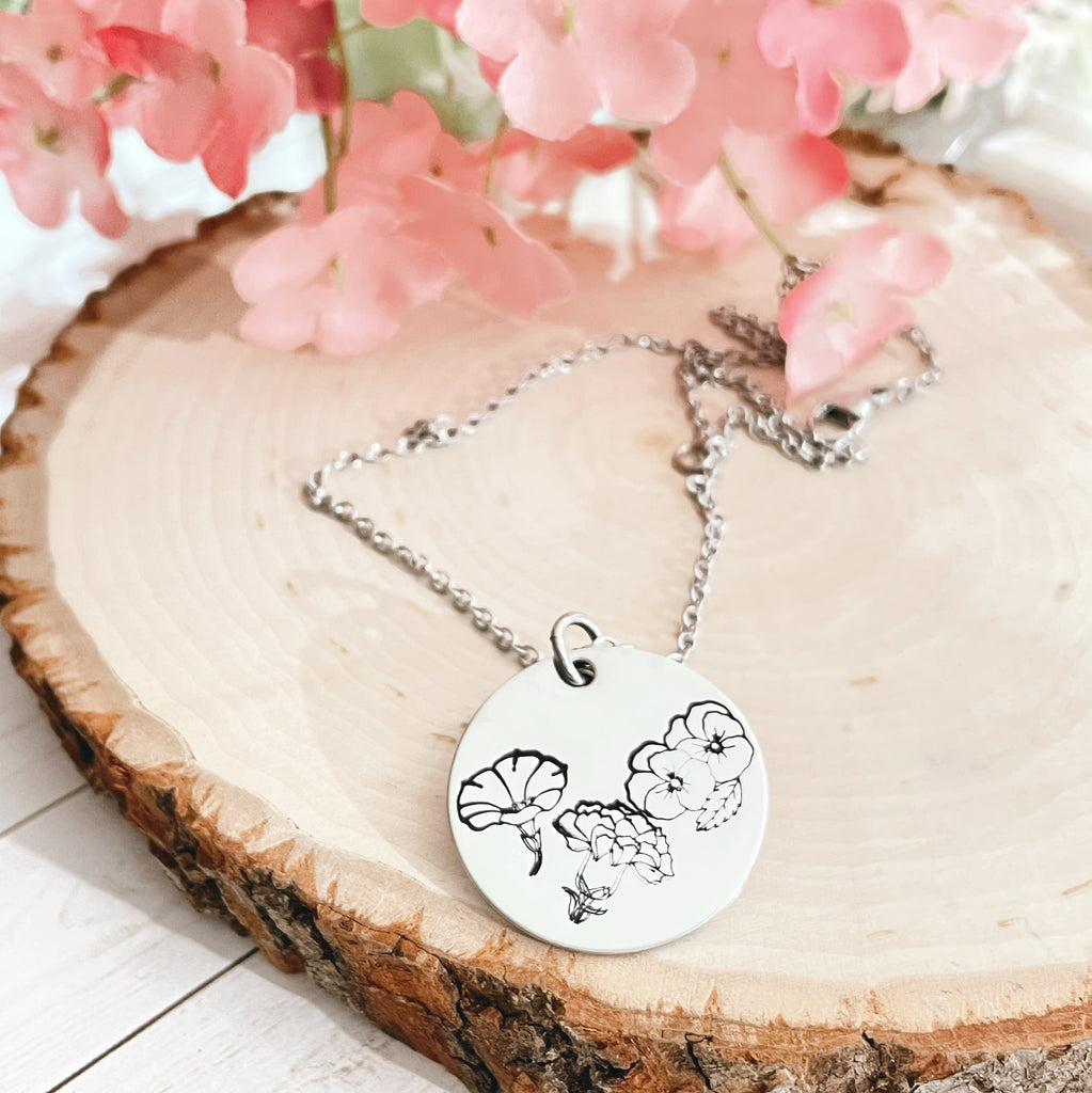BIRTH FLOWERS DISK NECKLACE