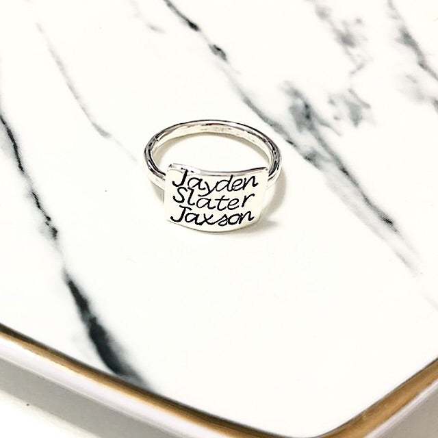 THREE NAMES BAR RING