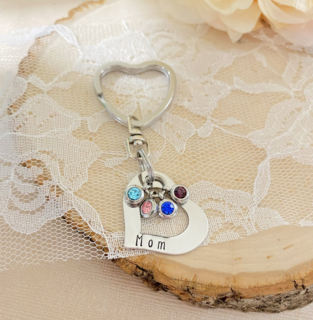 SIDE OPEN HEART WITH BIRTHSTONES