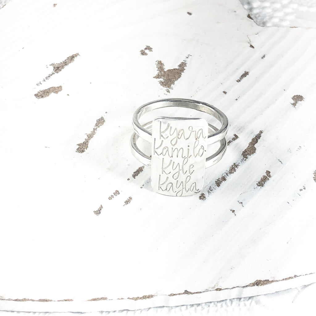 FOUR NAMES BAR RING