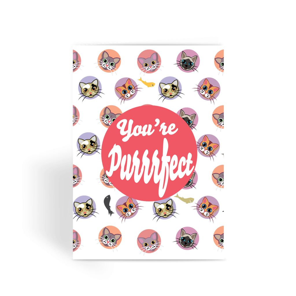Valentines Day Card - You're Purrrfect Valentine Cats Greeting Card