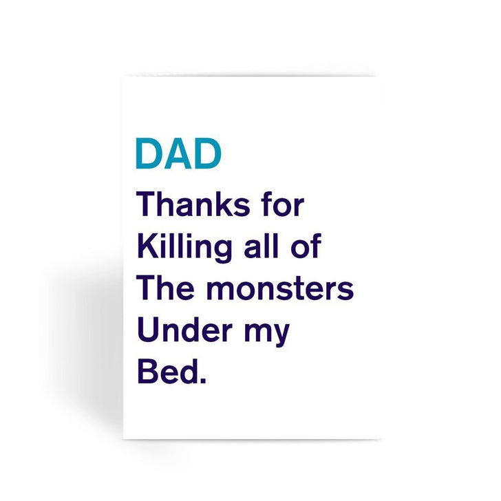 Funny Father's Day Card, Funny Dad Card, Funny Birthday Card For Dad, Cheeky Card for Dad - Thanks For Killing The Monsters Greeting Card