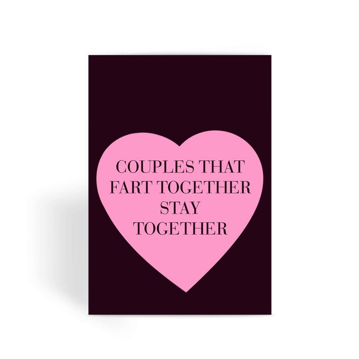 Funny anniversary card, Funny love card, Rude Card, Valentines Card - Couples That Fart Together Greeting Card