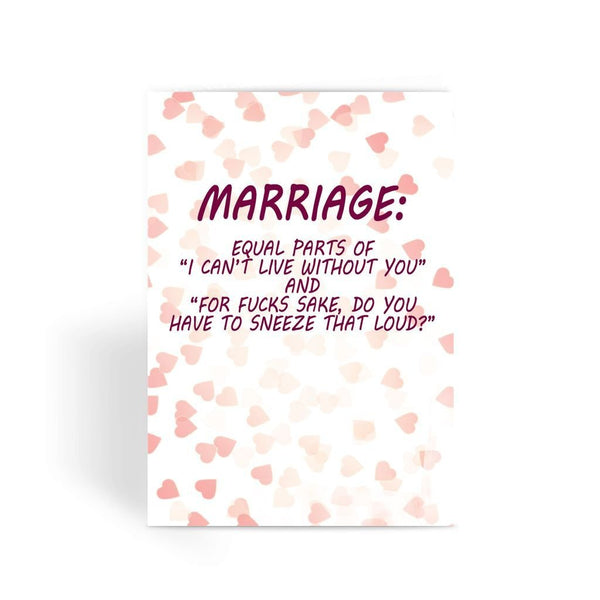 Funny Wedding Card, Funny engagement card, Funny marriage card, Card For Wedding, Congratulations, - Marriage,Equal Greeting Card