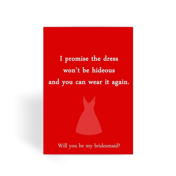 Funny Wedding Card, Funny engagement card, Funny marriage card, Card For Wedding, Congratulations, - Bridesmaid Dress Greeting Card