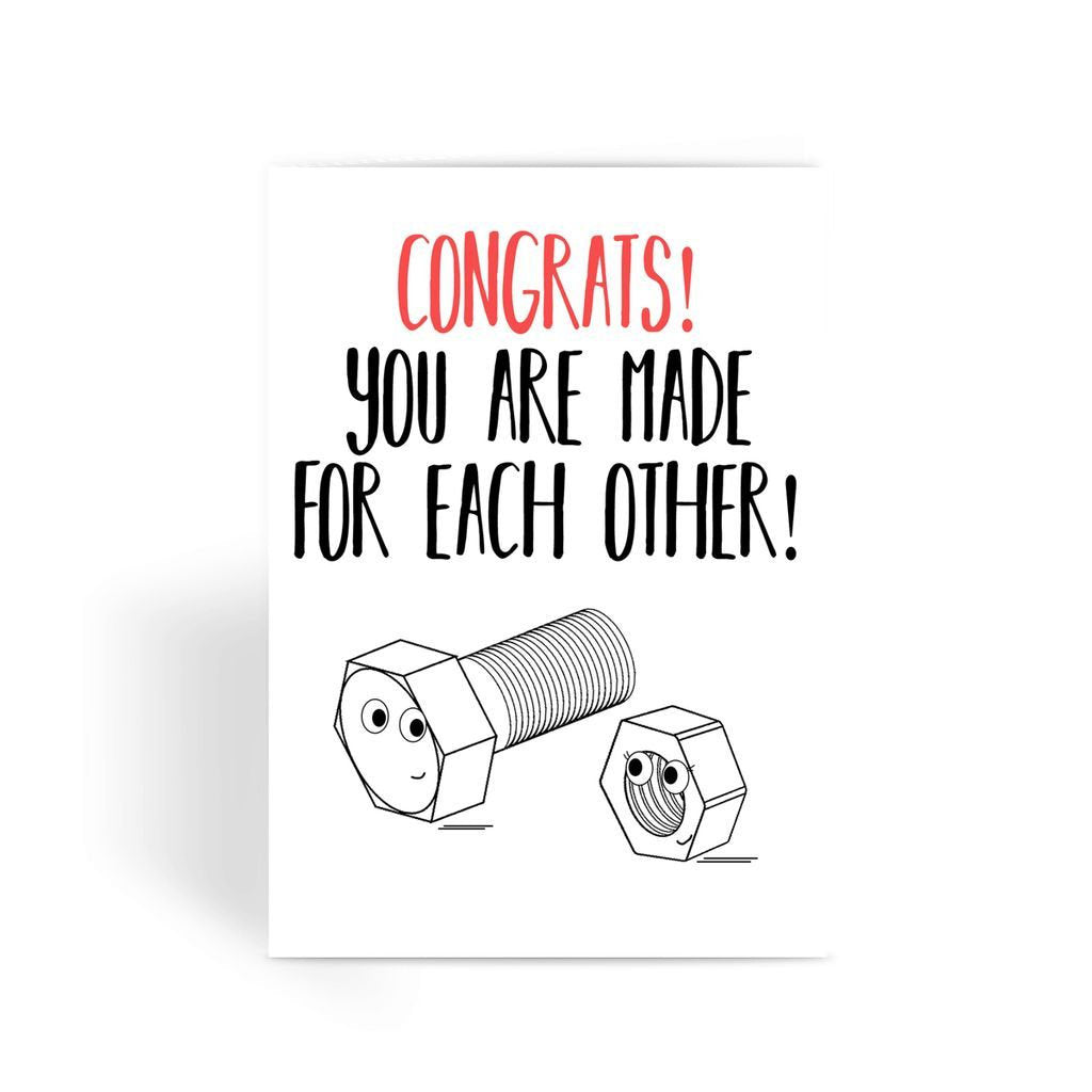Funny Wedding Card, Funny engagement card, Funny marriage card, Card For Wedding, Congratulations, - Made For Each Other Greeting Card
