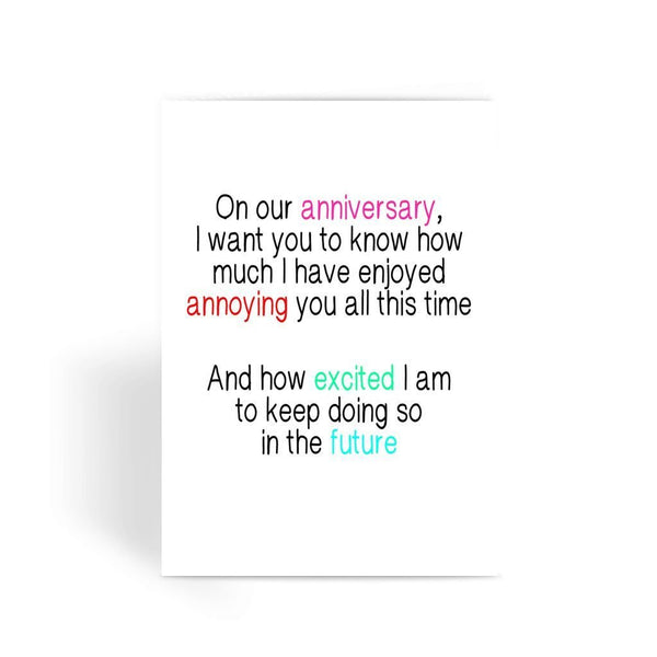 Funny anniversary card, Funny love card, Rude Card, Valentines Card - I Have Enjoyed Annoying You Greeting Card