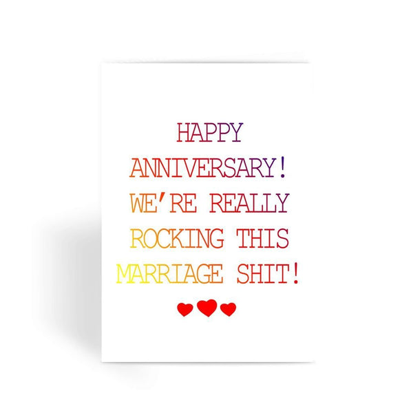 Funny anniversary card, Funny love card, Rude Card, Valentines Card - We're Really Rocking This Shit! Greeting Card