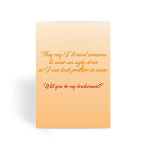 Funny Wedding Card, Funny engagement card, Funny marriage card, Card For Wedding, Congratulations, - Be My Bridesmaid? Greeting Card