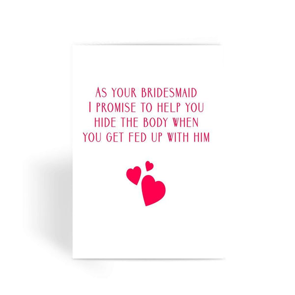 Funny Wedding Card, Funny engagement card, Funny marriage card, Card For Wedding, Congratulations,- As Your Bridesmaid Greeting Card