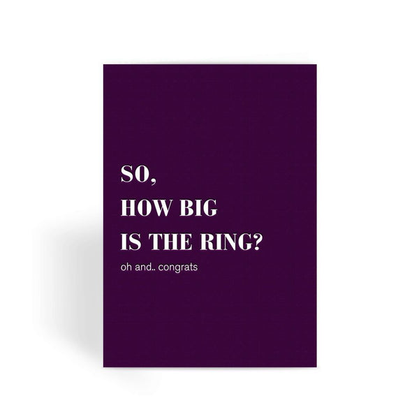 Funny Wedding Card, Funny engagement card, Funny marriage card, Card For Wedding, Congratulations, - How Big's The Ring? Greeting Card