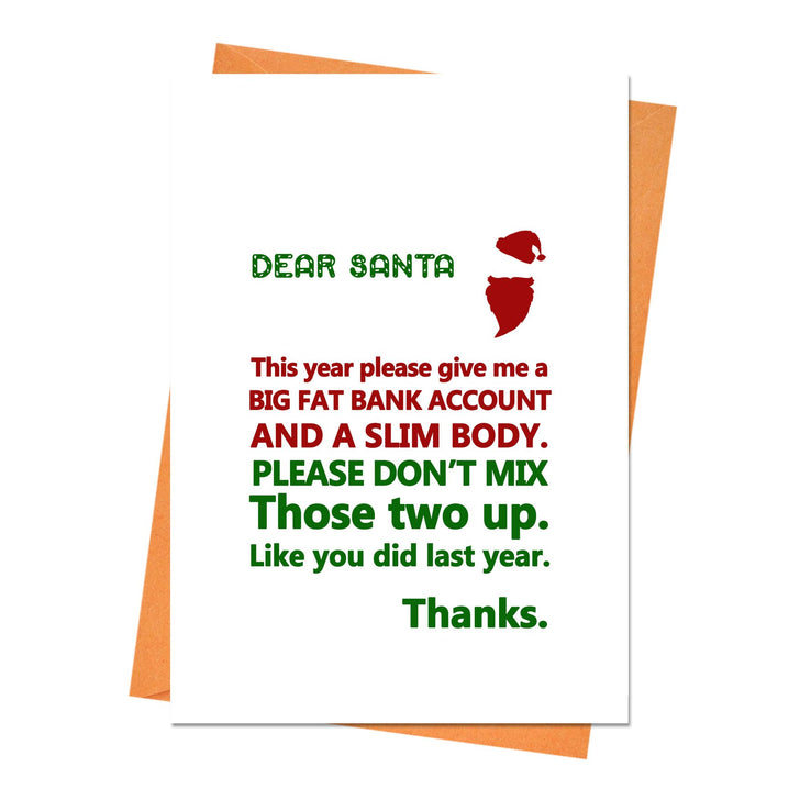 Funny Christmas Card, Funny Holiday Card, Xmas Card, - Dear Santa, This Year Please Give Me Greeting Card