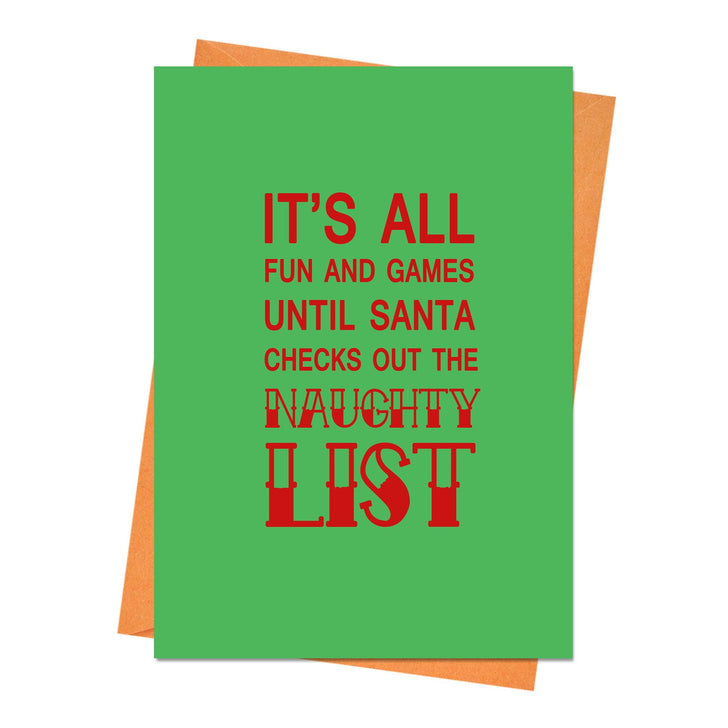Funny Christmas Card, Funny Holiday Card, Xmas Card, - Santa Checks Out The Naughty List  Greeting Card