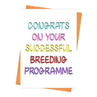 Funny New Baby Card, Baby Keepsake Card, For New Parents, Newborn Card, Baby shower card - Successful Breeding Greeting Card