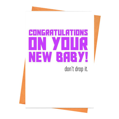 Funny New Baby Card, Pregnancy Card, Baby Keepsake Card, For New Parents, Newborn Card, Baby shower, - Congratulations Baby Greeting Card