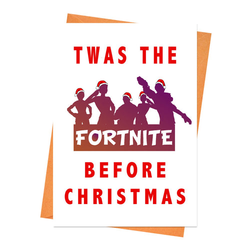 Funny Christmas Card, Fortnite Christmas Card, Boyfriend Christmas, Husband Christmas Card, - Twas the Fortnite Before Greeting Card