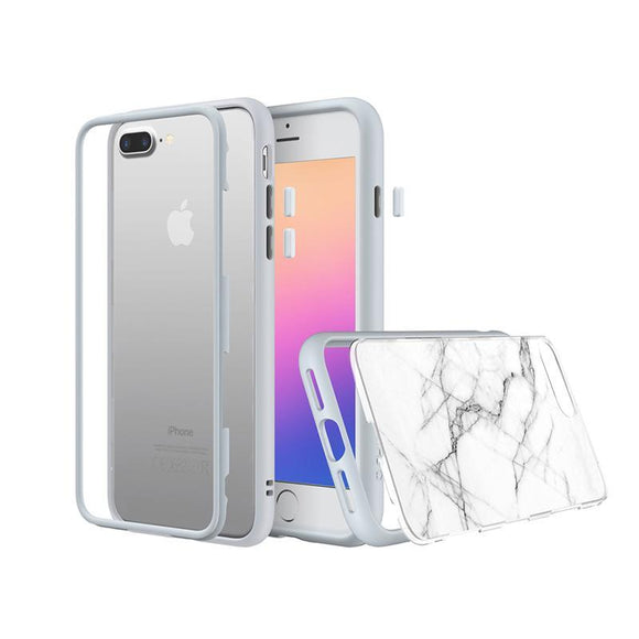 RhinoShield - MOD for iPhone 7 Plus / 8 Plus (White Rim, Button & Frame, White Marble Back Plate)
