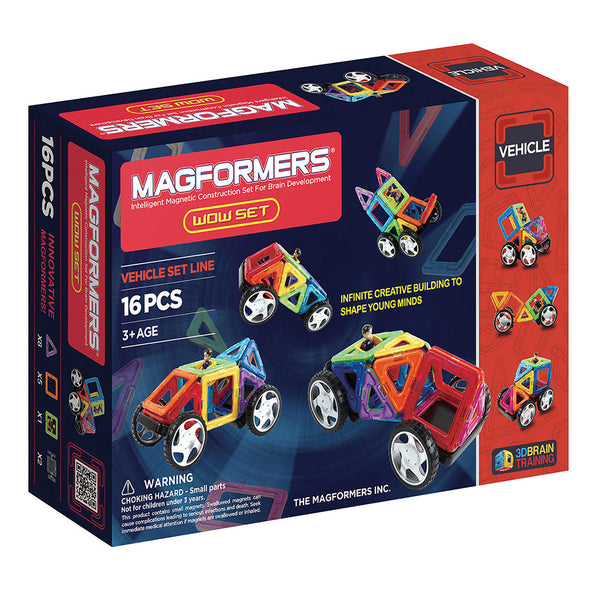 SpesaUK - Magformers Wow 16 Piece Magnetic Vehicle Construction Children's Educational Set