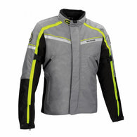 SpesaUK - Bering Greenwich Waterproof Motorcycle Medium Jacket in Black, Grey & Yellow