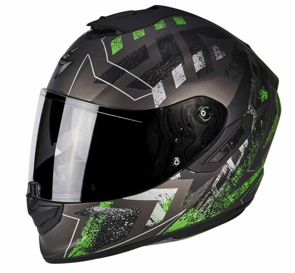 SpesaUK - Scorpion Exo 1400 Picta Matt Silver / Green Large 4Gr Motorcycle Helmet