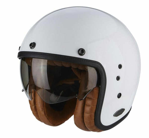 SpesaUK - Scorpion Belfast Gloss White Luxe Medium Motorcycle Helmet