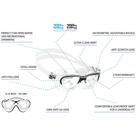 SpesaUK - Cressi Cobra Swimming Ultra Clear Silicone Skirt Shatterproof Lens Dark Goggles