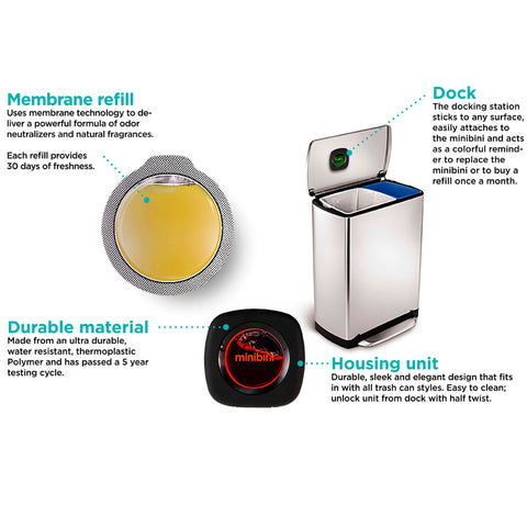 SpesaUK - Minibini Dustbin Rubbish Bin Antibac Odour Eliminator Air Freshener LemonVerbena