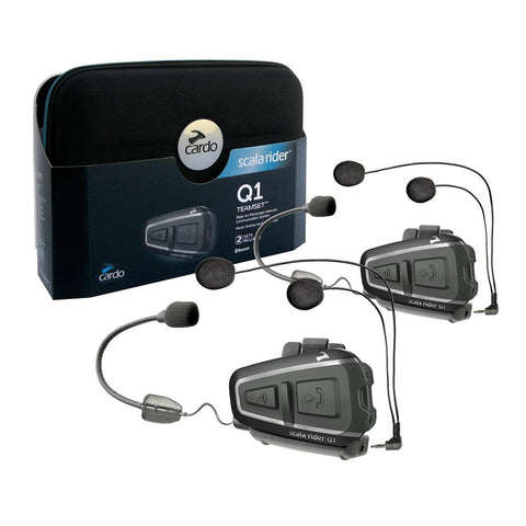 SpesaUK - Cardo Scala Rider Q1 Teamset Motorcycle Bluetooth Intercom System Bike BTSRQ1T