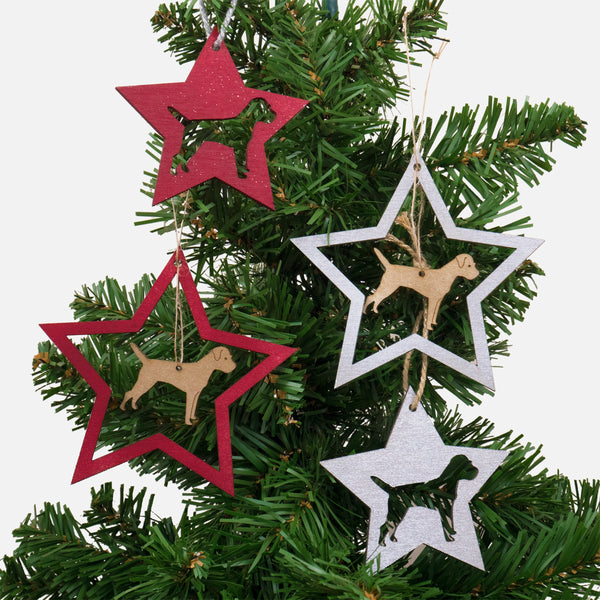 Little Rok Stars - Border Terrier Christmas decorations (set of 4)