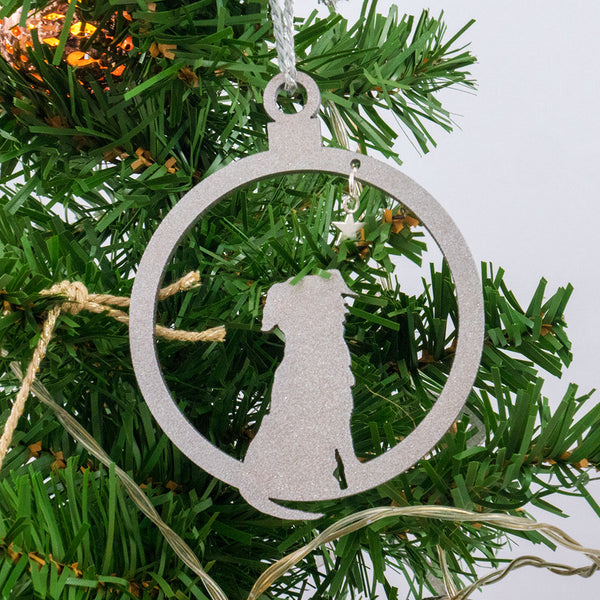 Swing On A Star (silver and gold - pack of 2) - Border Terrier Christmas decorations