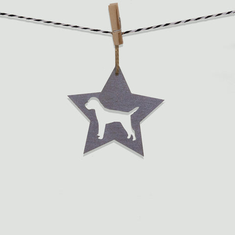 Silver Rok Star - Border Terrier Christmas decoration