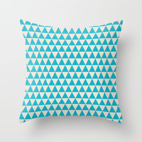 Scuba Blue Retro Triangles Pattern Decorative Cushion Cover