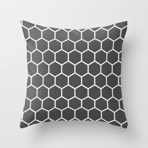 Hexagon Honeycomb Pattern Decorative Cushion Cover