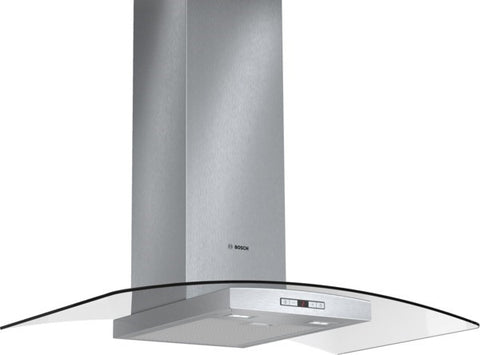 Exxcel Chimney extractor hood with glass canopy DWA097E51B brushed steel