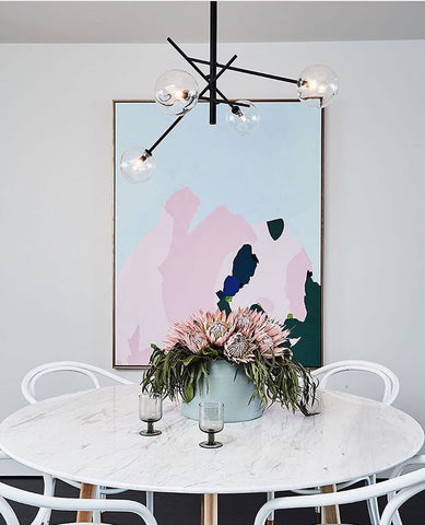 White Marble Dining Table With A Pop Of Pink