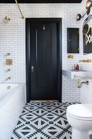 Black & White Bathrooms with Diamond Design Flooring
