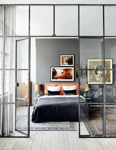Modern & Edgy Copper Bedroom With Dark Walls and Duvet