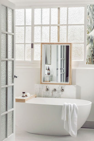 Harpers Project Marble Bathroom With Timber & Marble Mirror