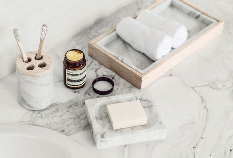 Marble Toothbrush Holder, Marble Soap Dish & Marble Tray | Harpers Project
