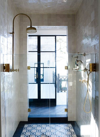 Elegant & Stylish Marble Showers with Gold Handles